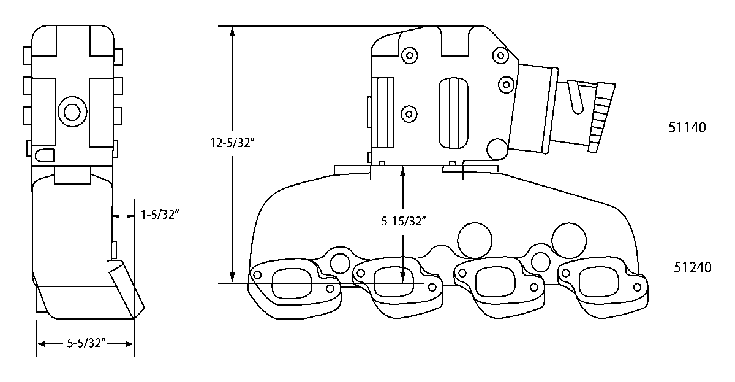 Dimensions of Mercruiser manifold and riser