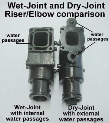 Water passage comparison between wet and dry joint riser/elbow
