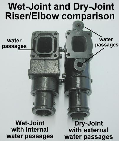 Comparison of the water passages between dry and wet joint risers/elbows
