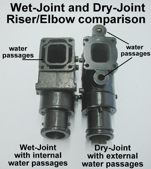 Different water passages wet joint and dry joint risers