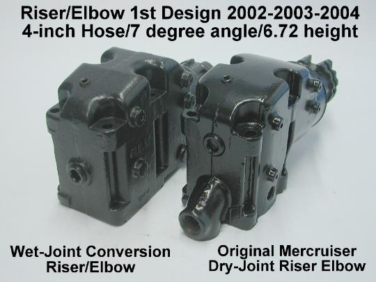 front view comparison between wet and dry joint riser/elbow