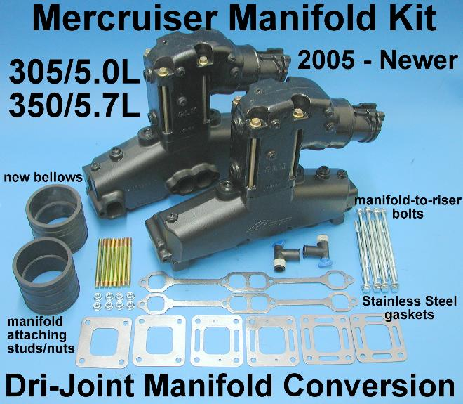 V8 Mercruiser manifold riser/elbow conversion kit