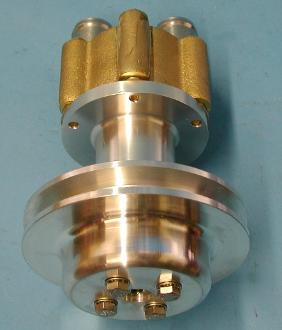 top view of billet pump and brass housing