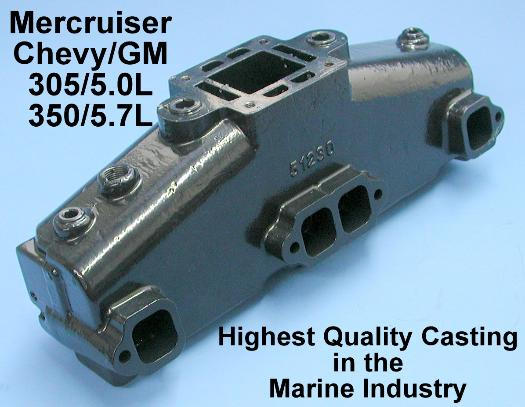 Mercruiser exhaust manifold chevy V8 diagonal